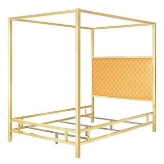 Solivita Full-sized Canopy Gold Metal Poster Bed by iNSPIRE Q Bold (Option: Moroccan Orange Yellow Linen)