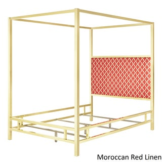Solivita Queen-size Canopy Gold Metal Poster Bed by INSPIRE Q
