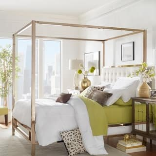 solivita champagne gold queen size metal canopy bed by inspire q bold - Yellow Bed Frame