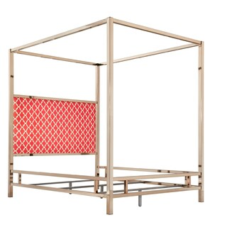 Solivita Champagne Gold Queen-size Metal Canopy Bed by iNSPIRE Q Bold (Option: Moroccan Red Linen)