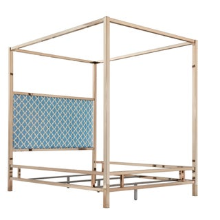 Solivita Champagne Gold Queen-size Metal Canopy Bed by iNSPIRE Q Bold (Option: Moroccan Sky Blue Linen)