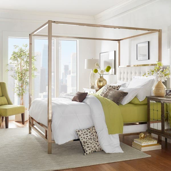 Shop Solivita Champagne Gold Queen Size Metal Canopy Bed By Inspire Q Bold Overstock 10395752