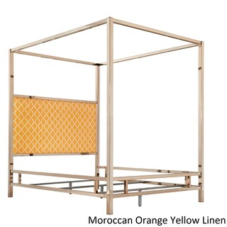 Solivita Champagne Gold Full Size Metal Poster Bed by iNSPIRE Q Bold (Option: Moroccan Orange Yellow Linen)