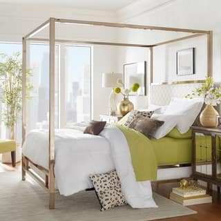 Solivita King size Canopy Champagne Gold Metal Poster Bed by iNSPIRE Q Bold. Chrome Bedroom Furniture For Less   Overstock com