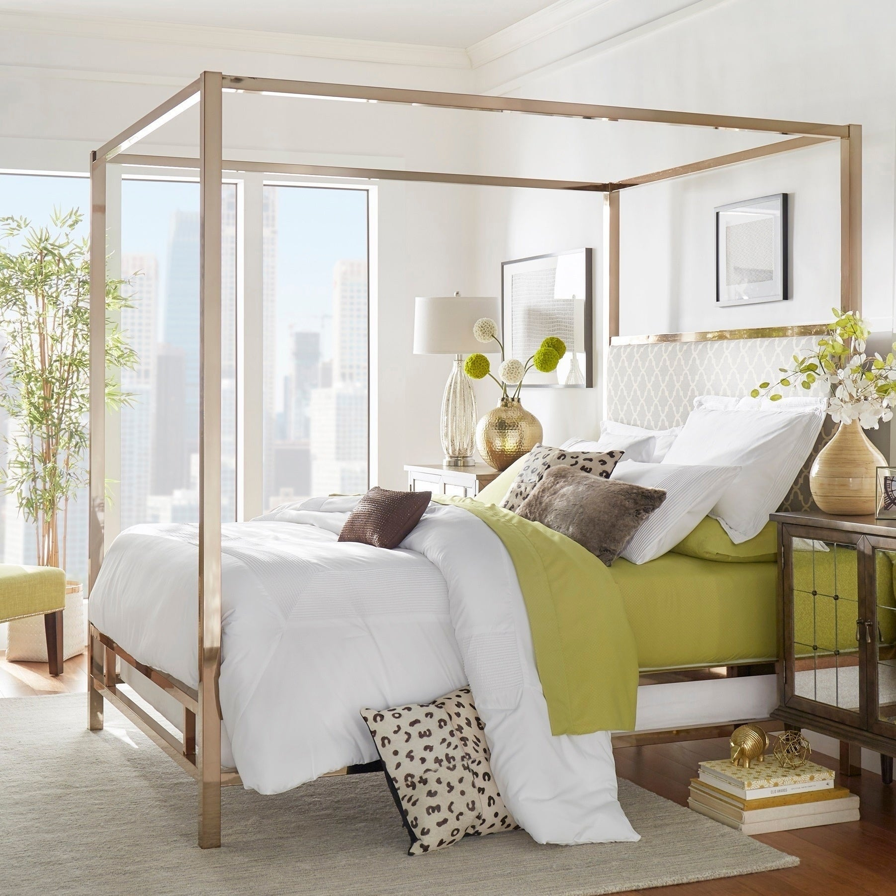 Shop Solivita King Canopy Champagne Gold Metal Bed By Inspire Q