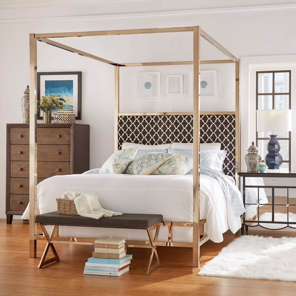 Poster Canopy Bed solivita king-size canopy champagne gold metal poster bed