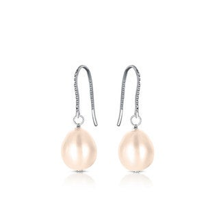 Collette Z Sterling Silver Cubic Zirconia Faux Pink Pearl Drop Earrings