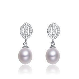 Collette Z Sterling Silver Cubic Zirconia Grey Faux Pearl Dangle Earrings