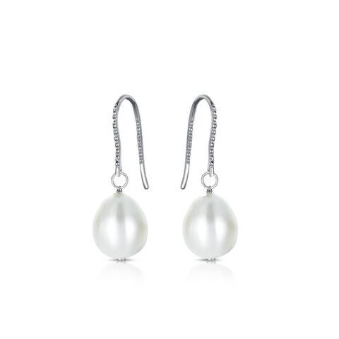 Collette Z Sterling Silver Cubic Zirconia Grey Faux Pearl Hook Earrings