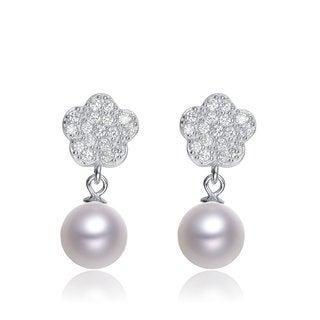 Collette Z Sterling Silver Cubic Zirconia Faux Pearl Flower Dangle Earrings