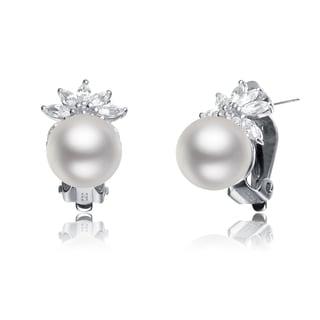 Collette Z Sterling Silver Faux Pearl Cubic Zirconia Stud Earrings