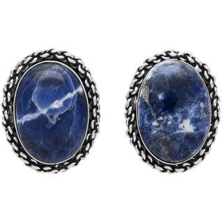 Kele & Co Sterling Silver Sodalite Stud Earrings|https://ak1.ostkcdn.com/images/products/10395844/P17498677.jpg?impolicy=medium