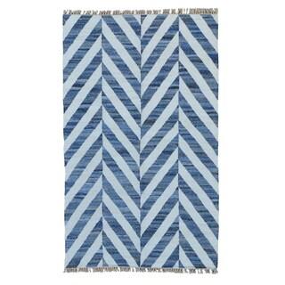 Hand Woven Geometric Durie Kilim Denim Jeans Oriental Rug (5' x 8'3)