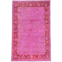 Overdyed Pink Cast Peshawar Oriental Rug Hand Knotted - 4' x 6'1
