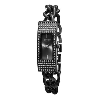 SO&CO New York Women's Madison Quartz Black Stainless Steel Bracelet Crystal Watch