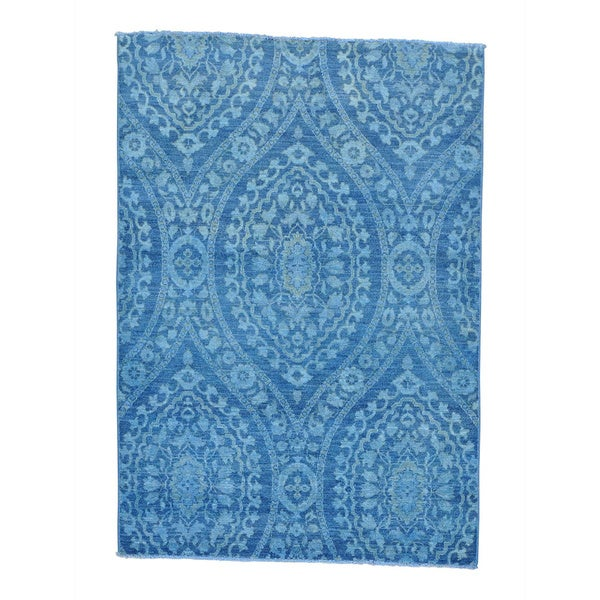Overdyed Peshawar Blue Cast Hand Knotted Oriental Rug (5' x 7'2)