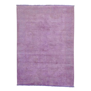Purple Overdyed Peshawar Hand Knotted Oriental Rug (5'1 x 7'1)
