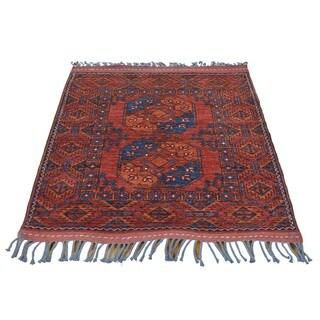 100 Percent Wool Afghan Ersari Hand Knotted Oriental Rug (3'5 x 3'8)