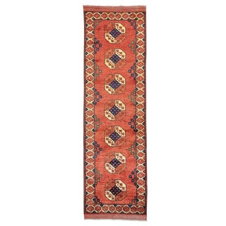 Runner Afghan Ersari Elephant Feet Design Handmade Rug (3' x 9'6)