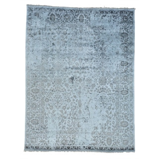 Modern Broken Design Viscose Rayon from Bamboo Oriental Rug Hand Knotted (9' x 11'9)