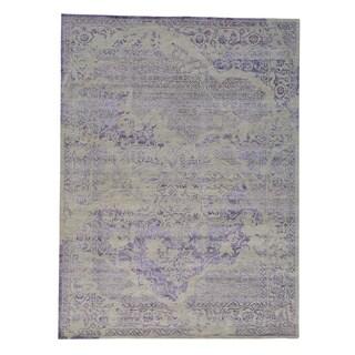 Wool and Rayon from Bamboo Silk Broken Design Heriz Rug Handmade (9' x 12')