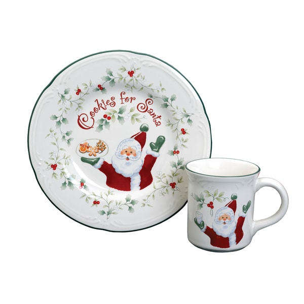 Pfaltzgraff Winterberry Cookies and Milk For Santa Set