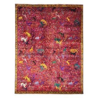 Sari Silk Dense Weave Oriental Rug Hand Knotted (9' x 11'10)