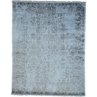 Modern Broken Design Rayon from Bamboo Silk Oriental Rug Handmade (7'10 x 10')