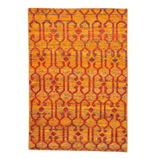 Sari Silk Modern Orange Zero Pile Oriental Rug Hand Knotted (5'6 x 8')
