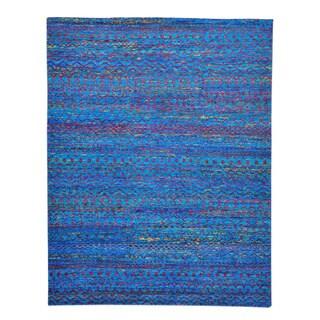 Modern Sari Silk Oriental Rug Hand Knotted Zero Pile (9' x 11'7)