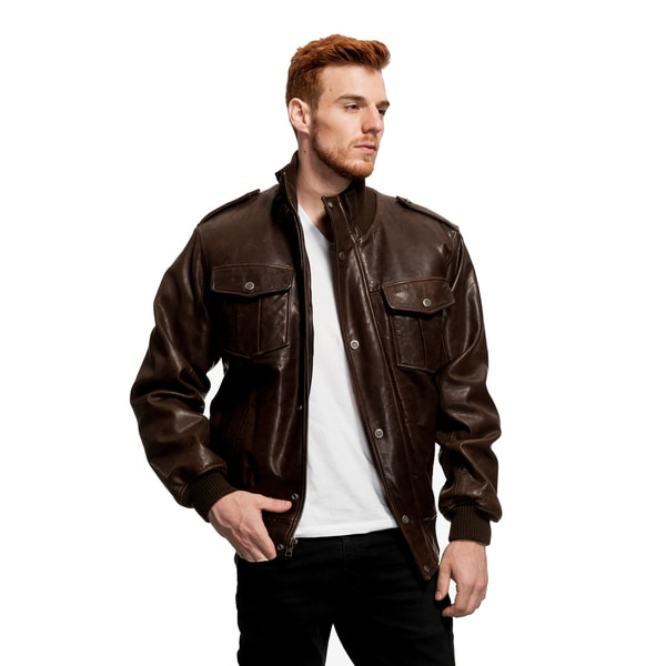 Wilda Men's Knox Distressed Leather Bomber