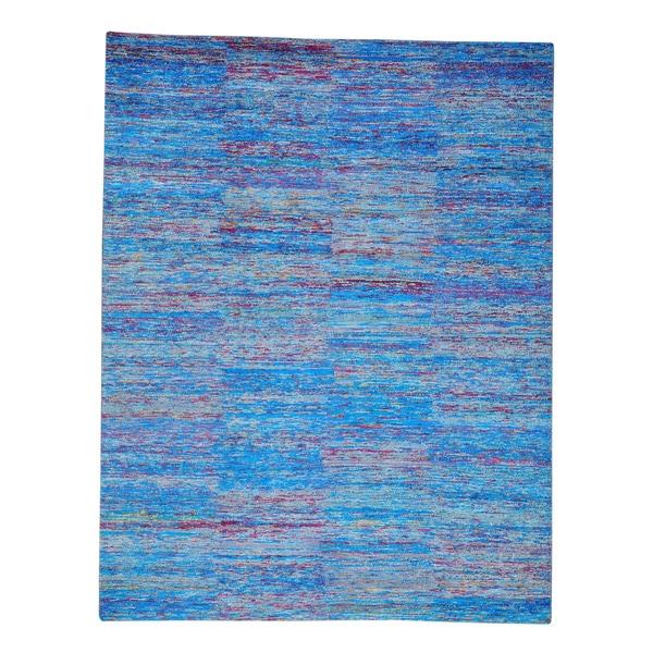 Colorful Modern Sari Silk Oriental Rug Zero Pile Handmade (9' x 11'7)