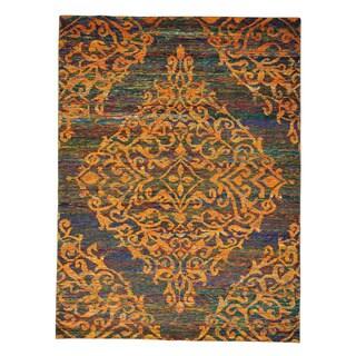 Hand Knotted Sari Silk Oriental Rug Zero Pile Ikat Design (8'9 x 11'9)