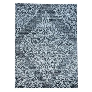 Handmade Sari Silk Oriental Rug Zero Pile Tone on Tone (8'10 x 11'9)