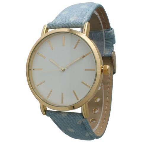 Olivia Pratt Women's Denim Polka Dot Watch