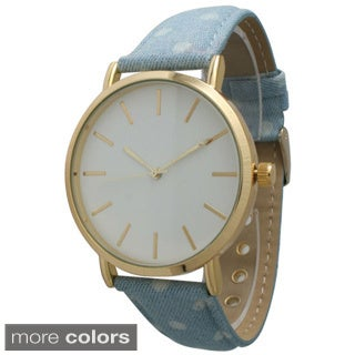 Olivia Pratt Women's Denim Polka Dot Watch