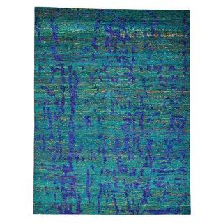 Sari Silk Oriental Cropped Thin Multicolored Handmade Rug (9' x 11'10)
