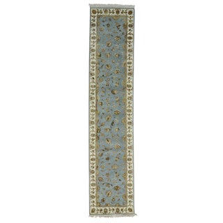 Runner Handmade Sky Blue Wool and Silk Kashan Oriental Rug (2'7 x 12')