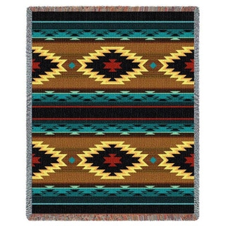 Southwest Geometric Turquoise Tapestry Throw Blanket