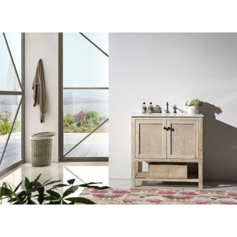 36 in. White wash Vanity with White Marble Top