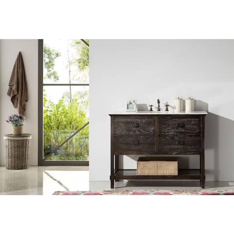 Legion Furniture 48-inch Solid Wood Sink Vanity with Marble Top