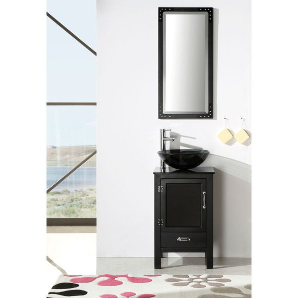 legion furniture 18 5 inch black solid wood sink vanity set with glass top and mirror free