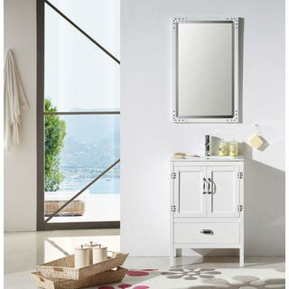 Legion Furniture 24-inch White Solid Wood Sink Vanity Set with Ceramic Top and Mirror