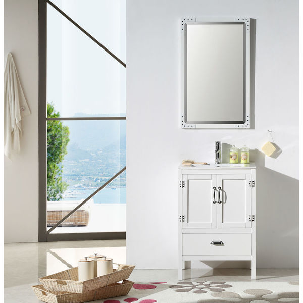Legion Furniture 24 Inch White Solid Wood Sink Vanity Set