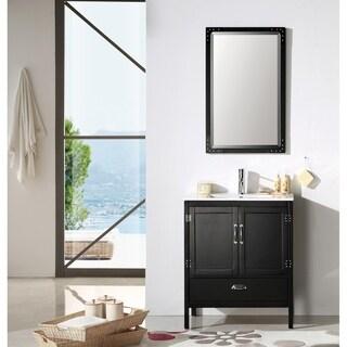Black Color Wood 30-inch Sink Vanity Set with Mirror and Ceramic Top
