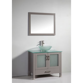 Legion Furniture 36-inch Solid Wood Glass Sink Vanity Set with Faucet and Mirror