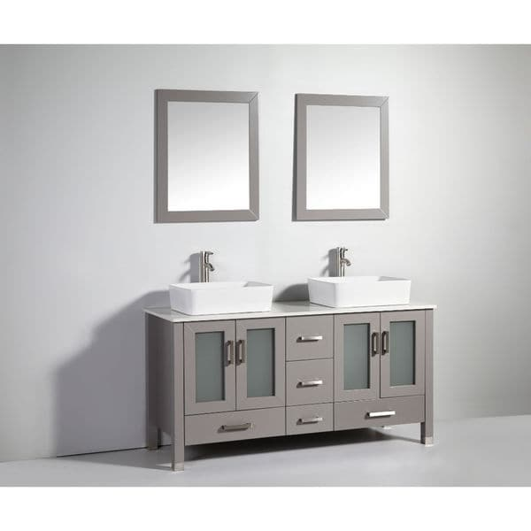 Light Grey Bathroom Vanity Double Sinks