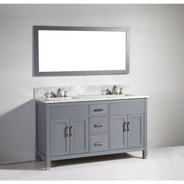 Shop legion furniture 60 inch dark grey solid wood double sink vanity set with mirror free for Solid wood double sink bathroom vanity