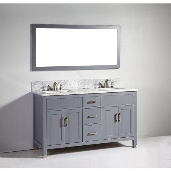 Shop legion furniture 60 inch dark grey solid wood double - 60 inch unfinished bathroom vanity ...