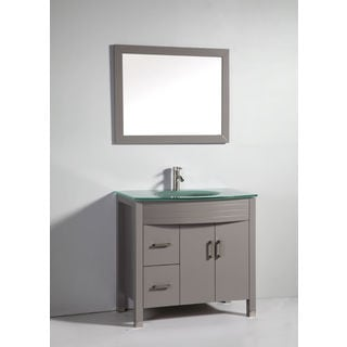 Legion Furniture 36-inch Light Grey Solid Wood Single Sink Vanity Set with Faucet and Mirror